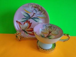 Rare Occupied Japan HandPainted Tea Cup and Saucer Pink Lotus EUC Ship Fast - $23.39