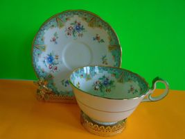 Beautiful Aynsley Vintage Green Floral Design Cup & Saucer England bone ... - $24.99