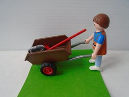 Playmobil Little Boy and A Wheel Barrow. Very Good Condition. Ship Fast - $14.49