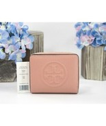 Tory Burch Perry Pink Moon Leather Perry Bombe Bifold Zip Around Wallet NWT - $143.06