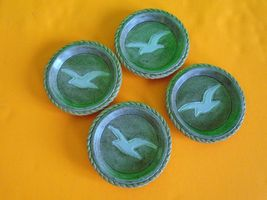 Ceramic Earthtone Sea Gulf Theme Cup Holders set of 4- Great condition S... - $14.99