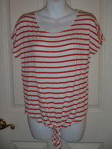 Boston Proper Red White Striped Top Shirt Size XS Tie Front Detail - $15.29