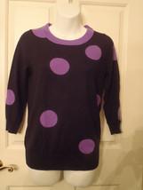 Women's J.Crew Tippi Sweater  Black & Purple Polka Dot XS Style 11808 - $20.30