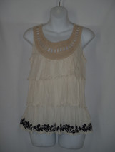 RIc Rac Anthropologie Top Ivory Lace Crochet Tiered Top Ruffles SMALL - $15.37