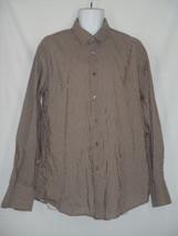 Size XL John Varvatos Mens Shirt Brown Striped 100% Cotton Long Sleeve - $28.01