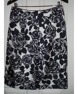 Boden 10R UK  Black White Ivory Floral Print 100% Silk Skirt - $34.34