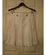 Size 0   J Crew White Linen Cotton Pleated Wendy Skirt - $37.08