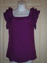 Loeffler Randall Purple Pleated Ruffle Neckline Blouse Silk Top Size 0 - $41.96