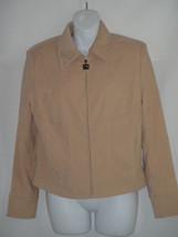 ST. JOHN SPORT Tan Beige Ultrasuede Embroidered Zip Jacket Size SMALL S - $51.13