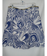 Size 12 Womens CAbi Skirt Blue White #470 Lombard Swirl Rayon Blend Lined - $34.27