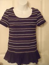 Size MEDIUM M  Black Anthropologie Meadow Rue Shirred Smocked Peplum Tee Shirt - $20.37