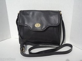 NEW! Authentic [TOMMY HILFIGER] Black Faux Leather Bag Tommy Messenger H... - $65.02