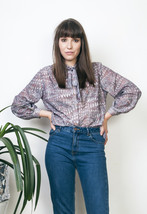 Grey peacock blouse 80s printed ribbon neck tie blouse - $23.66