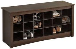Shoe Storage Bench 18 Pair Cubbie Organizer Furniture Entryway Seat Espresso  - $154.94