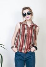 Orange printed top 80s sleeveless vintage blouse - $25.91