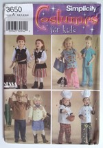 Simplicity 3650, Toddlers Costumes Pirate Doctor Cowboy Chef, Size ½, 1,... - $4.95