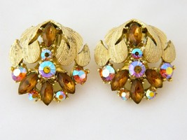 Vintage B.S.K. Aurora Borealis Clip On Earrings Cluster Rhinestone Gold ... - $23.36