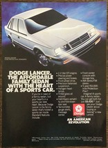 1986 Dodge Lancer Print Ad The Affordable Family Sedan w Heart of a Spor... - $10.75