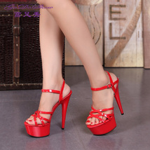 ps061 Extra large Stunning strappy sandals, patent leather, size 34-44, red - $68.80
