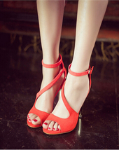 ps062 Elegant ankle sandals, strappy, gold plating back, size 34-44, red - $58.80