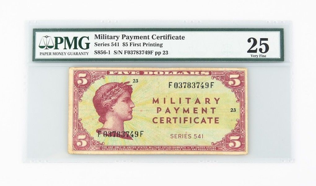 1958 US Military Payment Certificate VF-25 PMG MPC Series 541 P.SM41