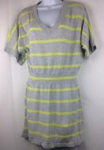 Express Womens Striped Sheath Cotton Blend Dress Size Gray Lime Large - $27.12