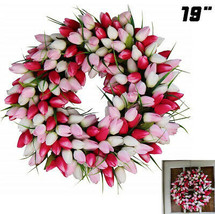 Spring Front Door Wreath Pink Tulip Silk Easter Home Decor Beautiful Gif... - $96.16