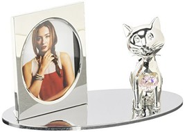 Silver Plated Picture Frame with Crystal Decorated Cartoon Cat Figurine ... - $28.70