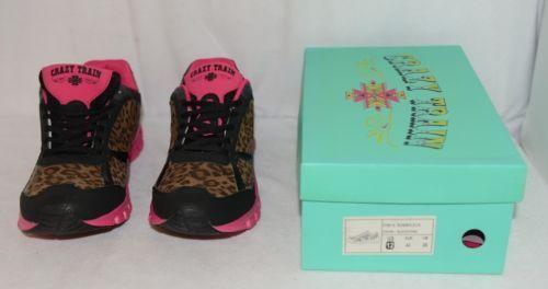 Crazy Train RUNWILD14 Black Pink Cheetah Sneakers Size 12