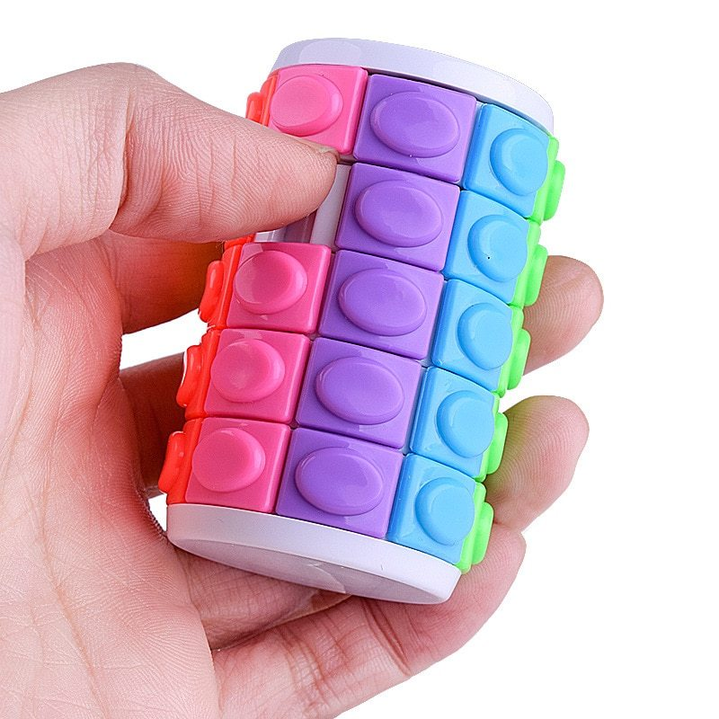 3D Rotate Slide Puzzle Decompression Fingertip Magic Cube DIY Cylinder Puzzle In