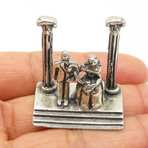 925 Sterling Silver - Vintage Sculpted Bride & Groom Wedding Day Statue ... - $56.20