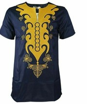 T Shirt For Men Short Sleeve Traditional African Embroidered Tops Gold D... - $32.50