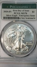 2020 P SILVER EAGLE Dollar $1 EMERGENCY ISSUE PCGS MS70 FDOI Actual Coin 6670 image 2