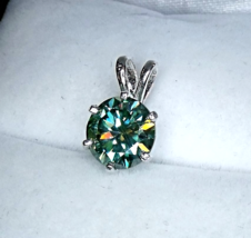 Exquisite Turquoise Moissanite / Sterling Silver Pendant from KT Elegant Jewelry - $109.95