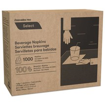 North River Beverage Napkins, 1 Ply, 8 1/2 X 8 1/2, White, 1000/pk, 8 packs - $87.45