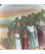 Vtg Magic Lantern Glass Slide Photo Hand Color Native Children Of Ceylon - $14.20