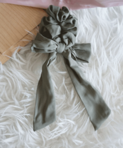 Long Tail Solid Bow Romantic Scrunchie Hair Tie - $8.00