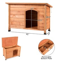 Dog House Outdoor Large Raised Wood Pet House Shelter Indoor Weather Res... - $145.47