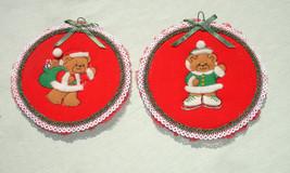 Vintage Handmade Teddy Bear Art Embroidery Hoops - Christmas Wall Hangings - $17.99