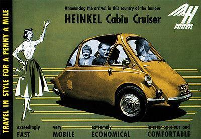 Primary image for 1956 Heinkel Cabin Cruiser - Promotional Advertising Poster