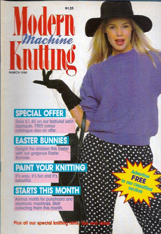 Primary image for Modern Machine Knitting Mar 1989 Magazine Childs Baseball Sweater, Easter Bunny