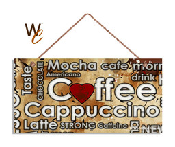 Coffee Sign With Cafe Mocha Cappuccino Latte Words, Rustic 5x10 Cafe Sig... - $11.39