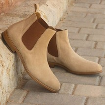 Beige Color Chelsea Jumper Slip Ons Made To Order Leather High Ankle Men Boots