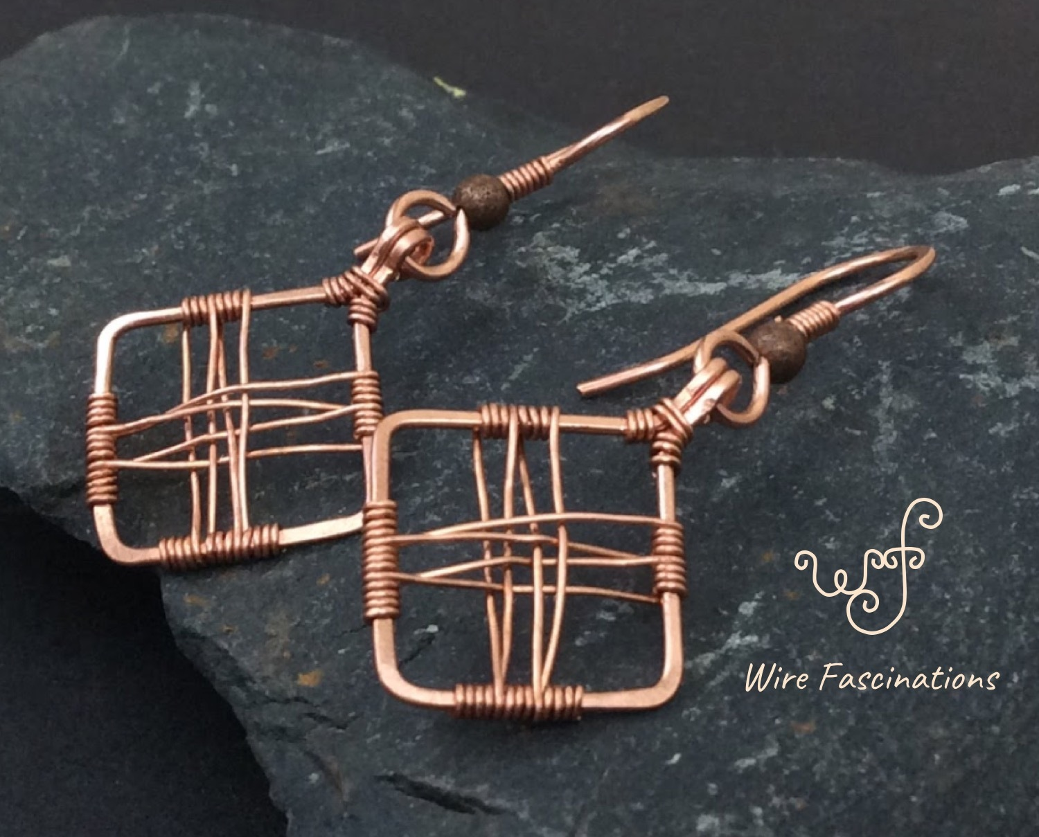 Handmade copper earrings: square diamond frame cross wire wrapped
