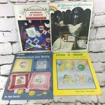 Baby Children Themed Cross Stitch Pattern Books Leaflets Lot Of 4 VTG 80's. - $9.89