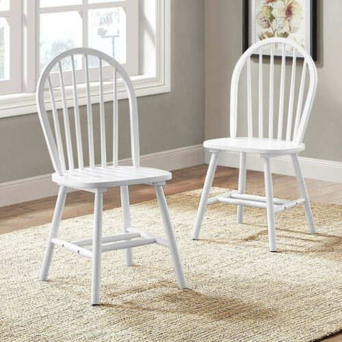 Set 2 Windsor Dining Chairs Solid White Finish Wood High