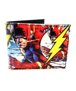 DC COMICS THE FLASH SUBLIMATED PRINT GRAPHIC PU FAUX LEATHER MENS BIFOLD... - $16.10