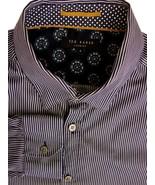 02b5d957fc TED BAKER Shirt Mens 16.5 L Dark Blue & White Stripes - £28.17 GBP