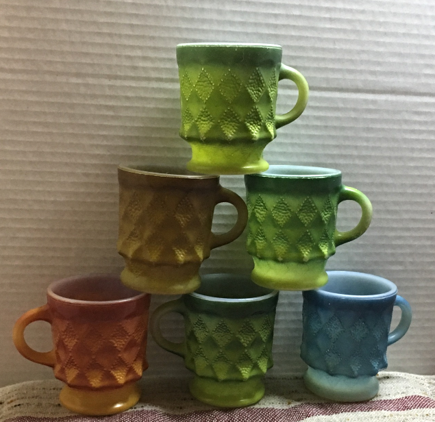 Set of Six Assorted Anchor Hocking Fire King Kimberly Diamond Milk Glass Cups