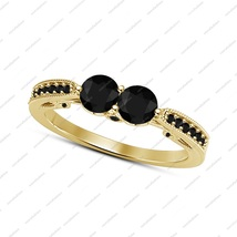 Black Simulated Diamond Two Stone Engagement Ring In 14k Yellow Gold Fin... - £54.09 GBP